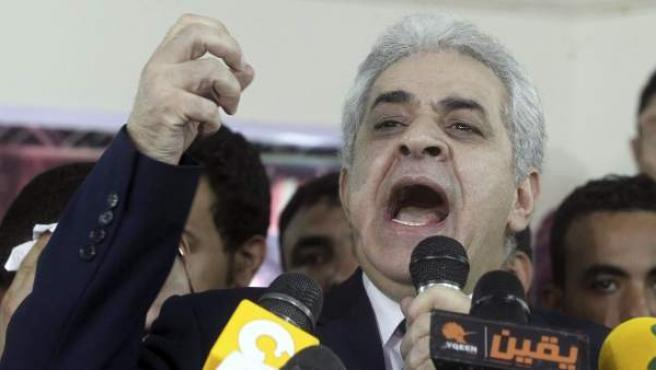 El candidato presidencial Hamdin Sabahi durante una rueda de prensa celebrada en El Cairo.