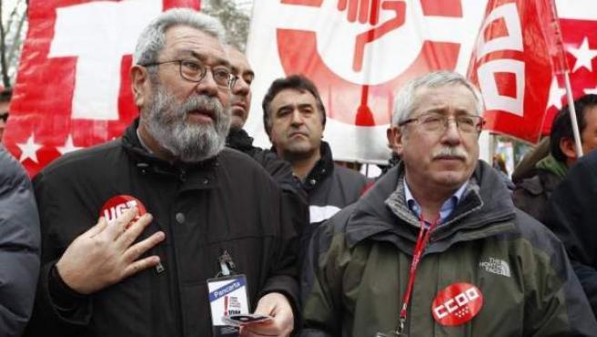 Los líderes de UGT y CC OO, Cándido Méndez e Ignacio Fernández Toxo, en una imagen de archivo.