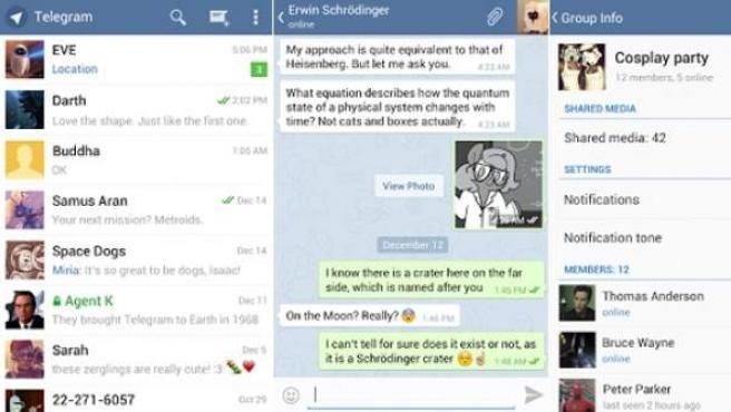 Diferentes capturas del programa de mensajería instantánea Telegram.