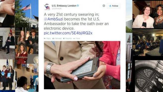 Tuit de la embajada de Estados Unidos en Reino Unido con la imagen de la jura de Suzi LeVine.