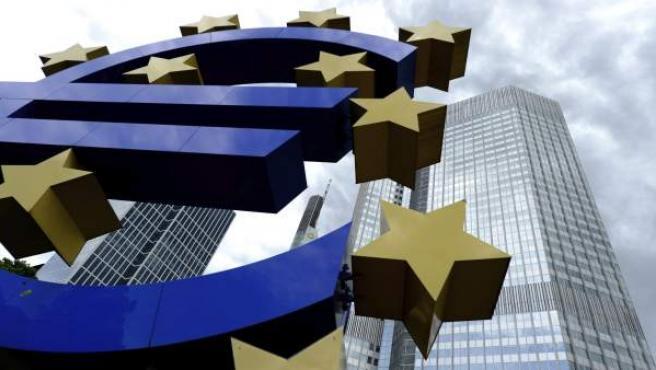 Imagen de la entrada del Banco Central Europeo (BCE) en Fráncfort (Alemania).