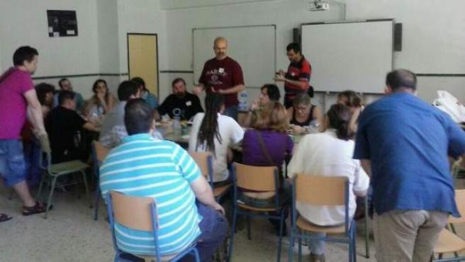 Imagen de una asamblea del partido Podemos en Málaga.