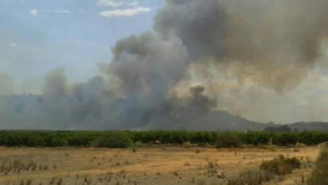 Estado del incendio forestal declarado este viernes en Chiva.