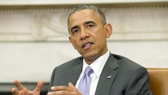El presidente estadounidense, Barack Obama, habla después de una reunión bilateral.