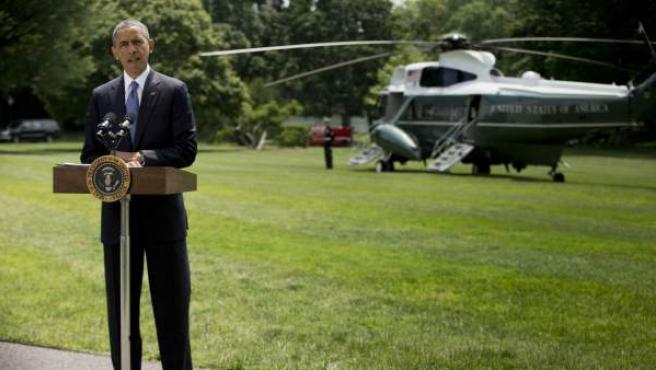 El presidente de EE UU, Barack Obama, dio un discurso sobre la crisis en Irak desde los jardines de la Casa Blanca.