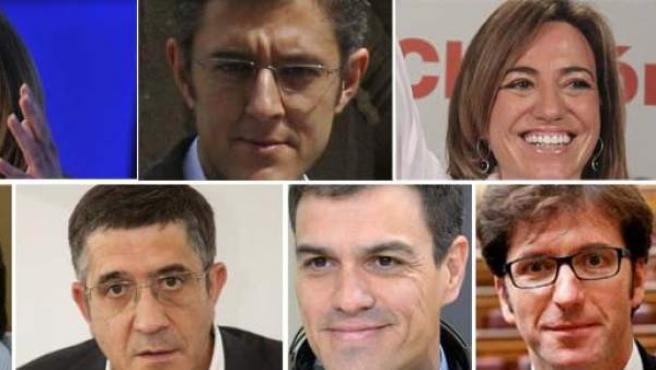 De izquierda a derecha y de arriba abajo. Susana Díaz, Eduardo Madina, Carme Chacón, Joan Mesquida, Patxi Lopez, Pedro Sánchez y Juan Moscoso.