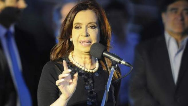 Cristina Fernández de Kirchner, presidenta de Argentina, durante un discurso.