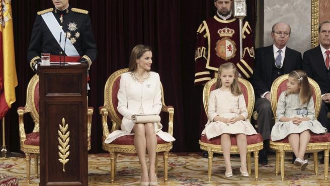 El rey Felipe VI, durante su primer discurso ante las Cortes Generales tras su proclamación.