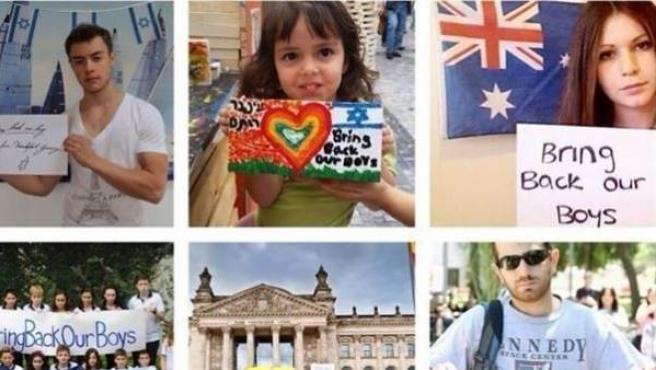 Algunas de las fotografías de la campaña de Israel a favor de los niños secuestrados.