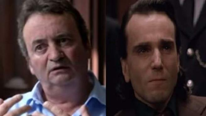 Montaje fotográfico con Gerry Conlon, a la izquierda, y Daniel Day-Lewis a la derecha, en un fotograma de 'En el nombre del padre'.
