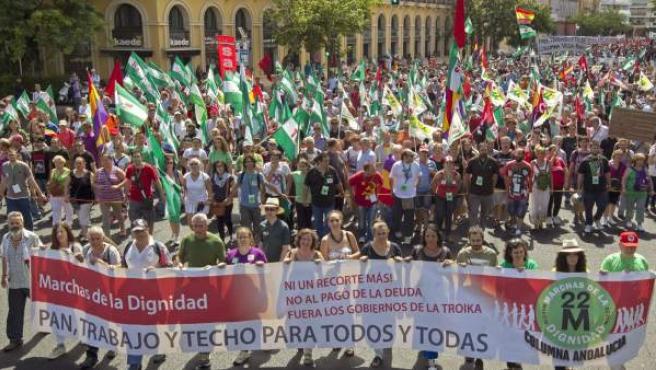 Movilización '21-J Rodea el Parlamento', celebrada en Sevilla.