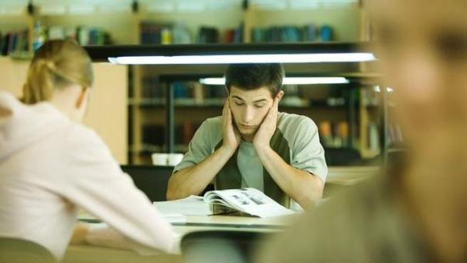Varios estudiantes, en una biblioteca.