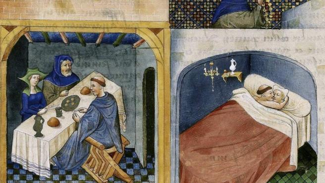 Fotografía facilitada por la Bibliothèque de l'Arsenal del Decameron (Decamerón) (el clérigo comparte una comida con una pareja y se acuesta con la esposa mientras que el marido reza en la terraza), Giovanni Boccacio, Paris, folio 108 verso, mediados del siglo XV.