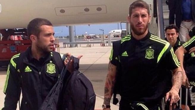 La selección, a su llegada a Barajas.
