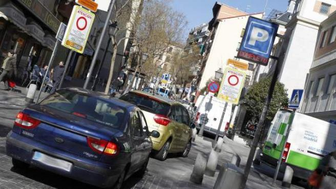 Entrada al Área de Prioridad Residencial de Embajadores-Lavapiés, en Madrid.