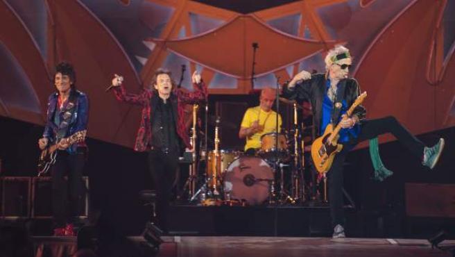 Los Rolling Stones, durante su espectáculo en el Santiago Bernabéu (Madrid).
