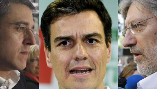 De izda a dcha: Madina, Sánchez y Pérez Tapias, los tres candidatos a la Secretaría General del PSOE.
