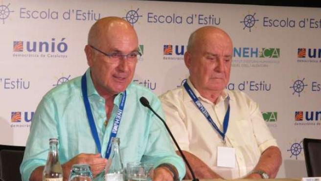 Josep Antoni Duran con el presidente de INEHCA, Llibert Cuatrecasas