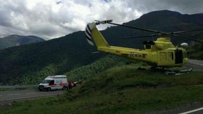 Ciclista evacuado en San Glorio por el helicóptero
