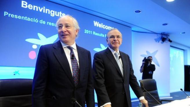 El presidente de CaixaBank, Isidre Faine, y el vicepresidente y consejero delegado de la entidad, Juan Maria Nin.