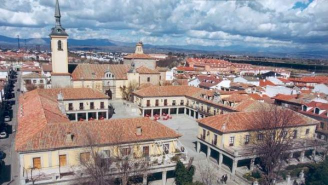 Vista aérea de la Plaza Mayor de Brunete.