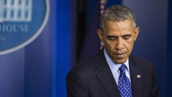 El presidente de Estados Unidos, Barack Obama ofrece un discurso.