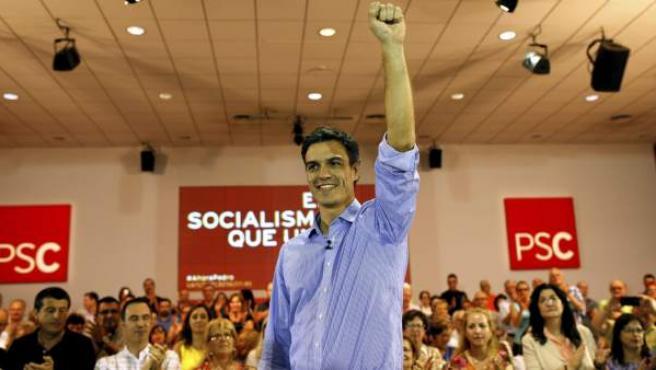 El candidato a la secretaría general del PSOE, Pedro Sánchez