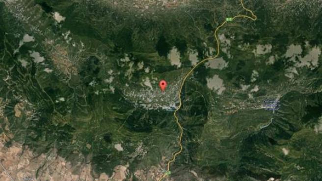 Imagen vía satélite de los alrededores de Arguis, en Huesca.