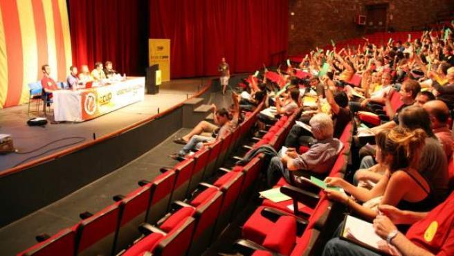 Una de las votaciones realizadas durante la Asamblea Nacional ordinaria de 2014, que la CUP ha celebrado en el Teatre de la Passió de Cervera (Lleida).