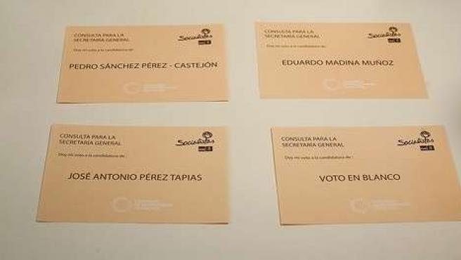 Papeletas de votación para elegir al nuevo secretario general del PSOE