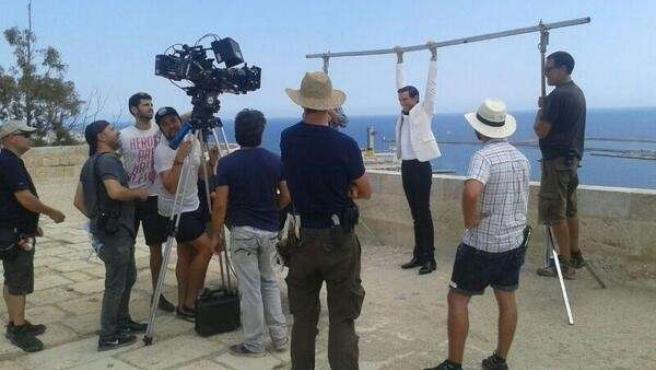 Mika en el rodaje de un vídeoclip en La Alcazaba de Almería