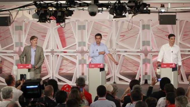 Debate entre Pedro Sánchez, Eduardo Madina y José Antonio Pérez Tapias