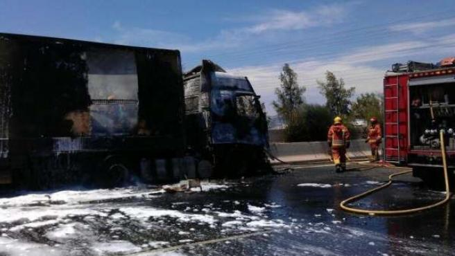 Efectivos del Consorcio Provincial de Bomberos sofocando el incendio