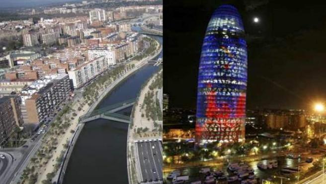 Madrid, asomada al Manzanares, y la torre Agbar de Barcelona.