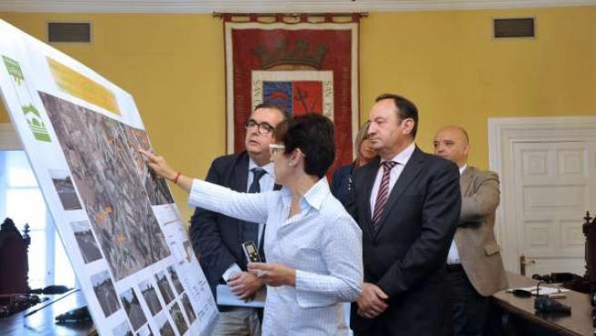 Sanz y Martínez Portillo atienden a las explicaciones de la nueva rotonda