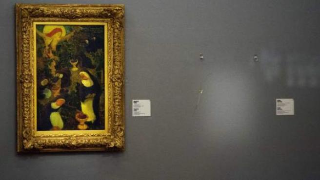 Vista del lugar donde se encontraba uno de los cuadros robados en el museo Kunsthal, en Rótterdam.