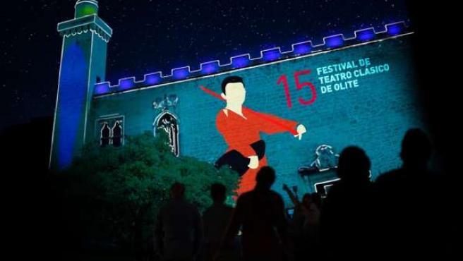 El espectáculo de vídeo-mapping sobre el Castillo de Olite.