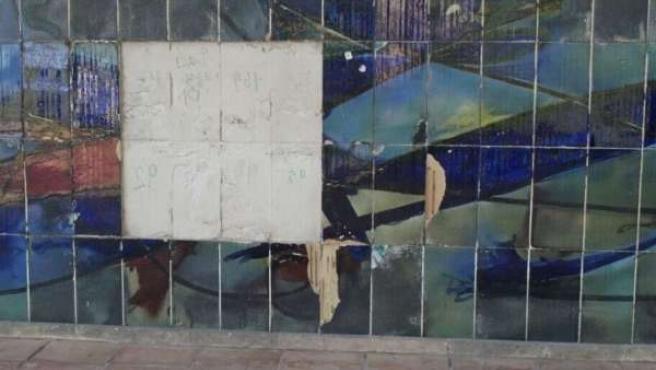 Daños en el mural Miró en El Terreno
