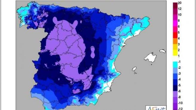 Descenso térmico previsto para el sábado 19-7- 14 respecto al día anterior