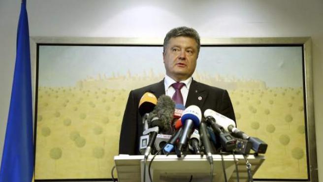El presidente de Ucrania, Petro Poroshenko, en una locución ante los medios.