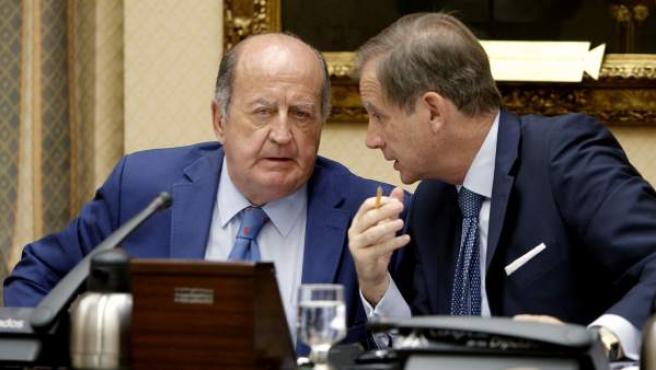 El presidente de la Comisión de Cultura del Congreso de los Diputados, Juan Manuel Albendea (i), durante la reunión.