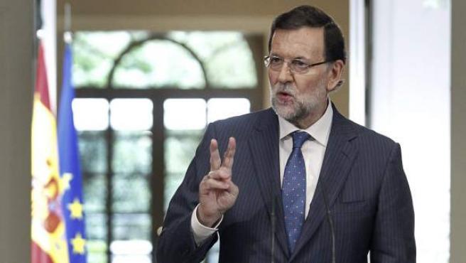 El presidente del Gobierno, Mariano Rajoy, hace balance de su gestión antes de las vacaciones de verano de 2014.