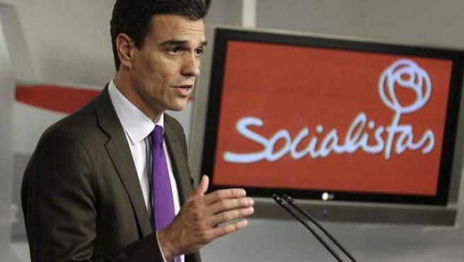 El secretario general del PSOE, Pedro Sánchez, en rueda de prensa.