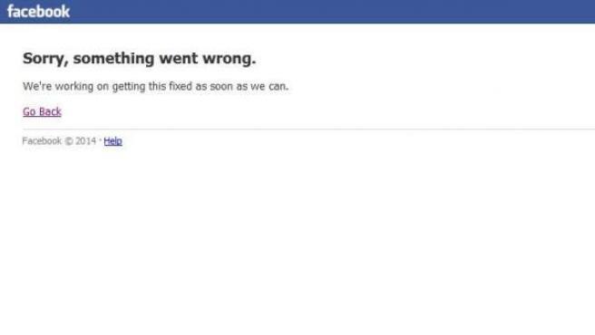 La página de Facebook, en el momento en que ha experimentado una caída.