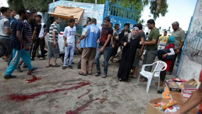 Imagen de la escuela de la ONU que ha sido atacada por un bombardeo israelí.