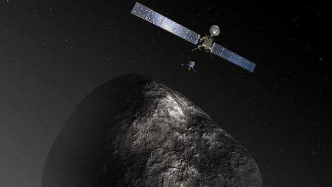 Recreación artística de la sonda Rosetta aproximándose al cometa Churyumov-Gerasimenko.