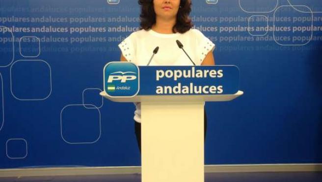 La vicesecretaria general del PP andaluz, Virginia Pérez, en rueda de prensa