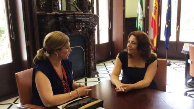 Serrano y Crespo durante el encuentro institucional