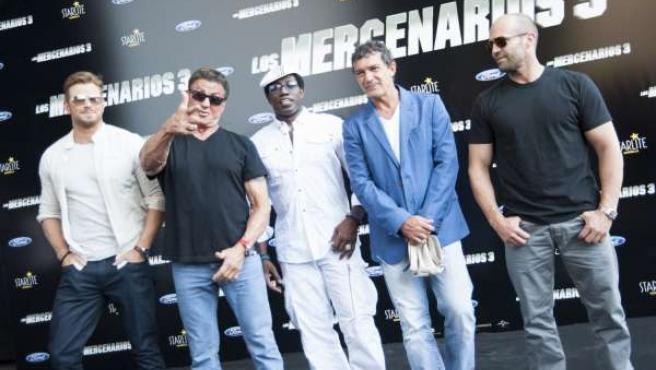 Presentación de Los Mercenarios 3 en Marbella Stallone, Banderas, Snipes,