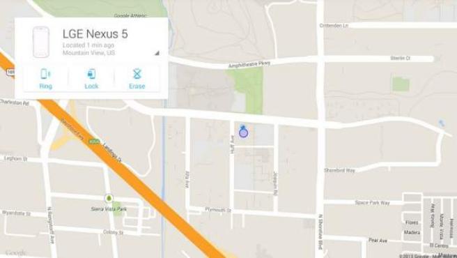 Aplicación Android Device Manager de Google, para recuperar teléfonos móviles perdidos.